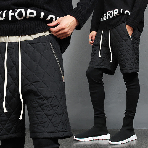 Leggings Layered Zipper Pocket Quilted Padded Half Sweatpants