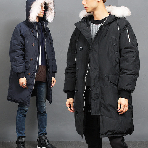 White Raccoon Fur Hood Military Duck Down Parka 682