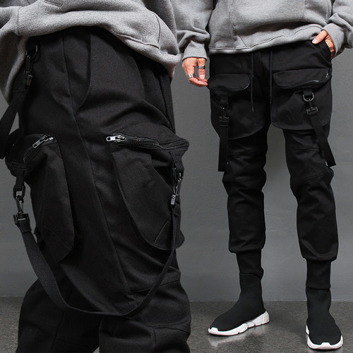 4 Zipper Big Cargo Pocket Webbing Strap Jogger Pants