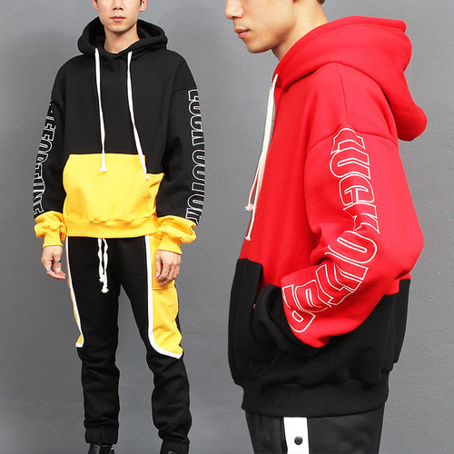 Loose Fit Contrast Color Fleece Hoodie Sweatpants Set