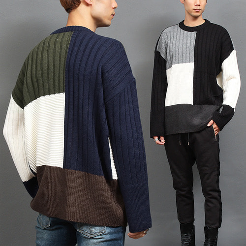 Loose Fit Contrast Color Pattern Knit Jumper
