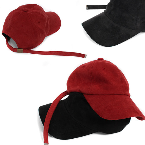 Black Red Suede Long Strap Adjustable Size Ball Cap