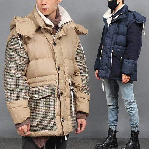Contrast Pattern Detachable Hood Padded Duck Down Parka