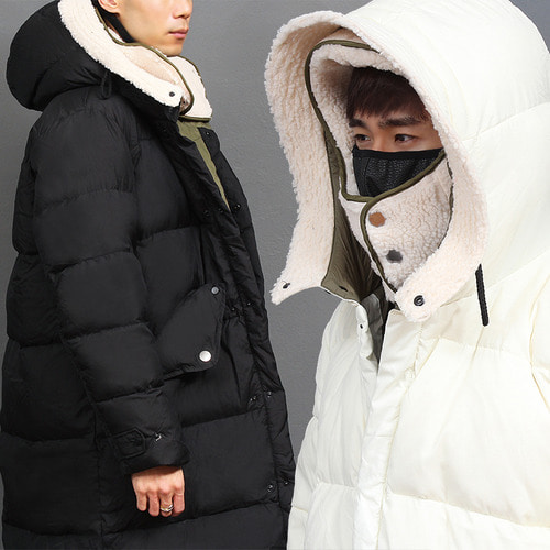 Removable Layered Fluffy Hood Military Down Long Parka