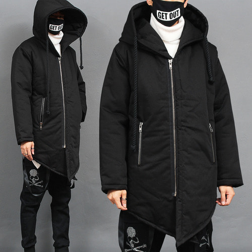 Big Hood Rope Strap Diagonal Hem Zip Up Parka