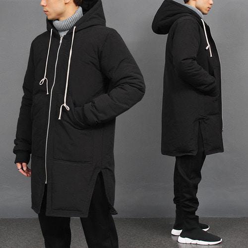 Split Side Zip Up Long Strap Hooded Black Parka