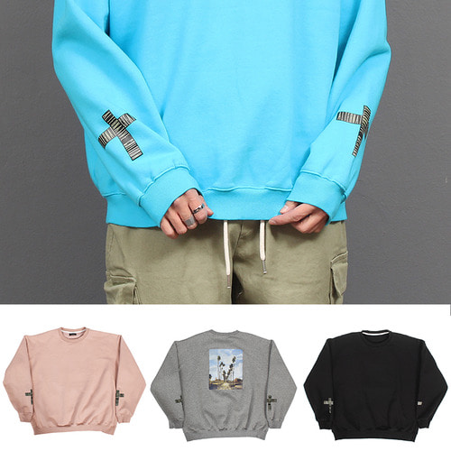 Graphic Printing Fleece Interior Loose Fit Boxy Sweatshirt