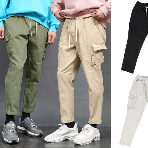 Waistband Cotton Cargo Pocket Baggy Sweatpants