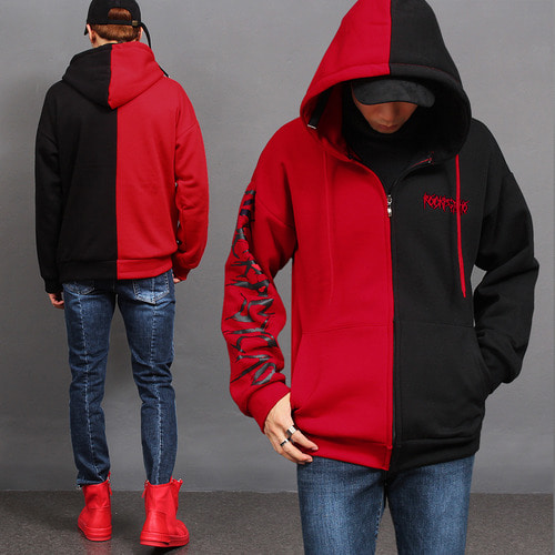 Contrast Half Color Printing Interior Fleece Zip Up Hoodie