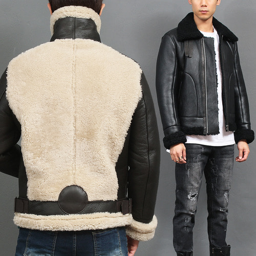 High Neck Double Belted Shearing Lambskin Leather Jacket