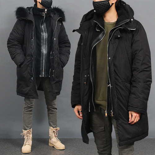 Detachable Faux Leather Front Fur Hood Black Parka
