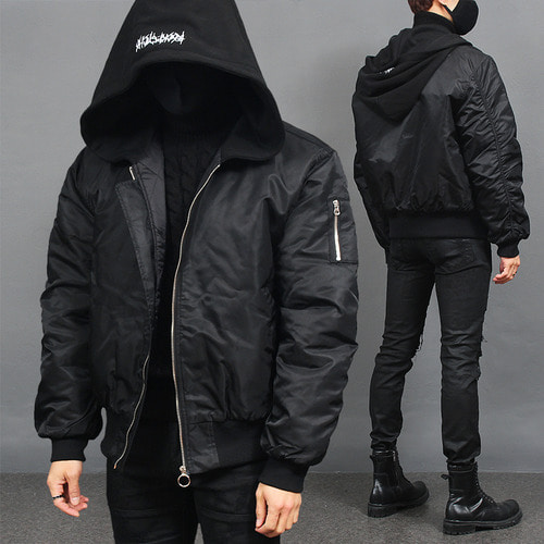 Big Hood Shirring Sleeve Short Puffa Bomber Jacket