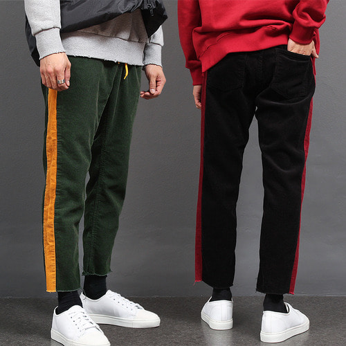 Corduroy Contrast Side Color Cut Off Hem Sweatpants P430