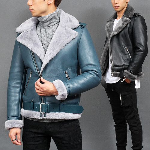Shearling Fluffy Lining Lamb Skin Leather Rider Jacket