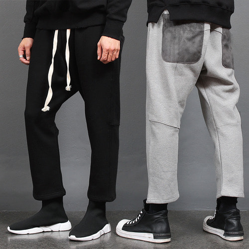 Low Crotch Contrast Back Pocket 4/5 Baggy Sweatpants