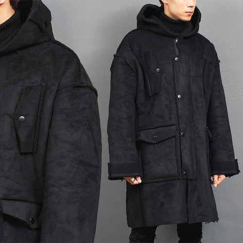 Loose Fit Black Faux Shearling Hooded Coat