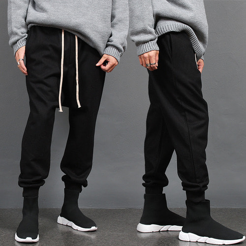 Drop Crotch Long Strap Wool Baggy Jogger Sweatpants