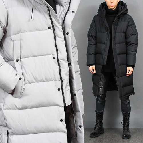 Split Side High Neck Duck Down Hood Long Padded Parka