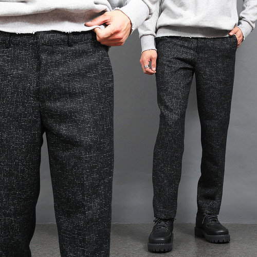 Mosaic Pattern Stitch Straight Wool Pants
