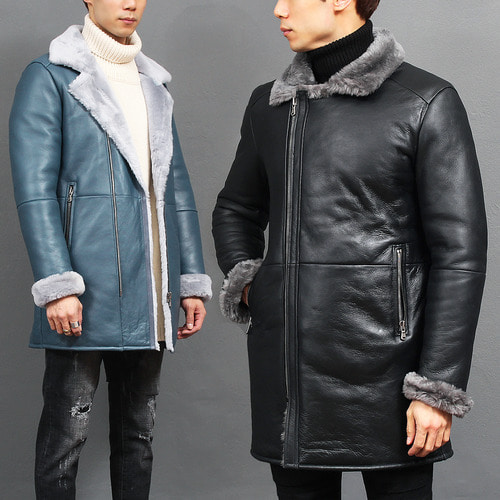 Shearling Fluffy Lining Lamb Skin Leather Coat