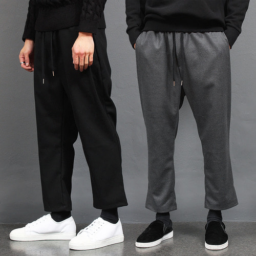 Elasticized Waistband Semi Baggy Wool Pants