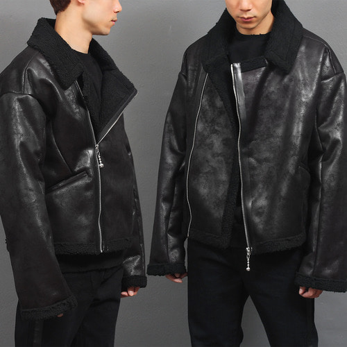 Faux Black Shearling Crack Pattern Leather Rider Jacket