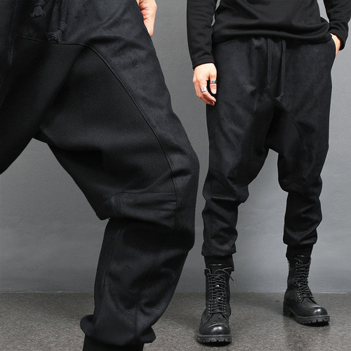 Crack Pattern Drop Crotch Baggy Jogger Pants
