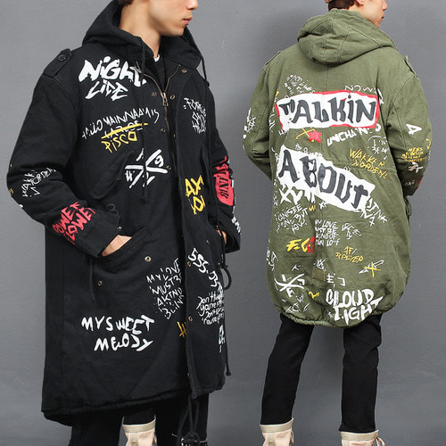 Vintage Lettering Graphic Printing Hood Long Jacket
