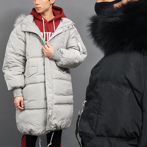 Loose Fit Real Raccoon Fur Hood Duck Down Puffa Parka