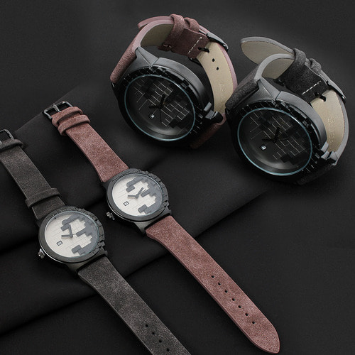 Block Puzzle Design Leather Strap Metal Round Watch 8098