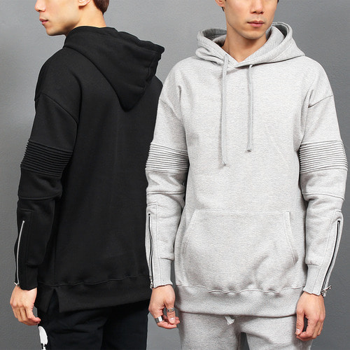 Zippered Cuffs Seaming Ribbed Paneling Sweatshirt Hoodie