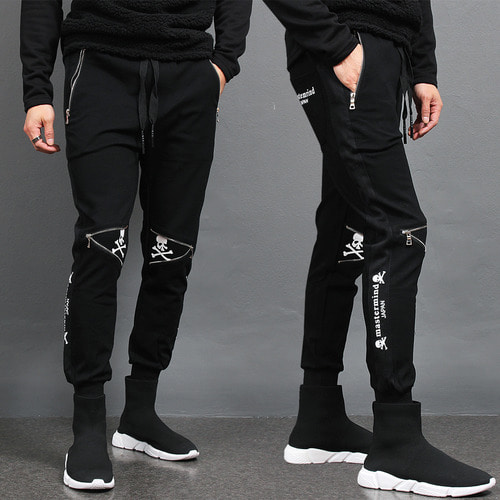 Skull Logo Printing Knee Zipper Styling Slim Jogger Pants
