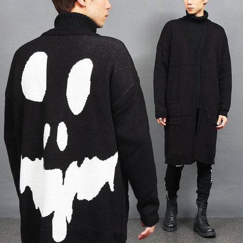 Loose Fit Skull Back Split Side Knit Long Cardigan