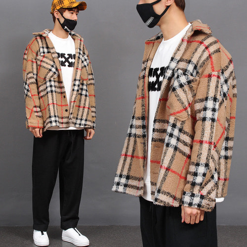 Over Loose Fit Split Side Fleece Checkered Wool Shirt Jacket