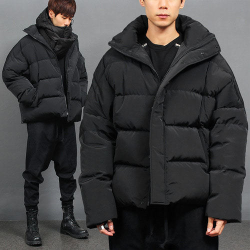 High Neck Loose Fit Duck Down Puffa Jacket