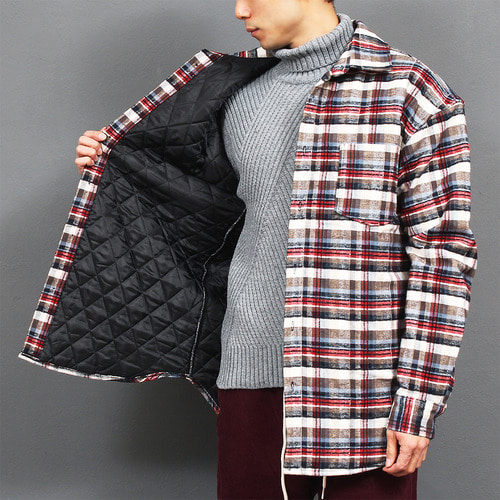 Cotton Insulation Checkered Pattern Fleece Shirt
