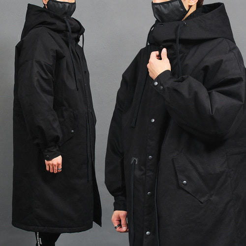 Loose Fit Big Hood Long Black Jacket