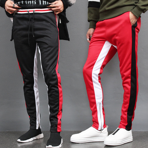 Contrast Side Color Slim Zipper Hem Jersey Sweatpants