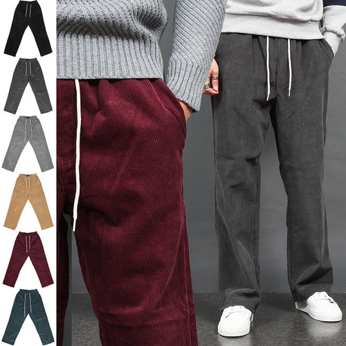 Corduroy Pattern Waistband Color Wide Sweatpants