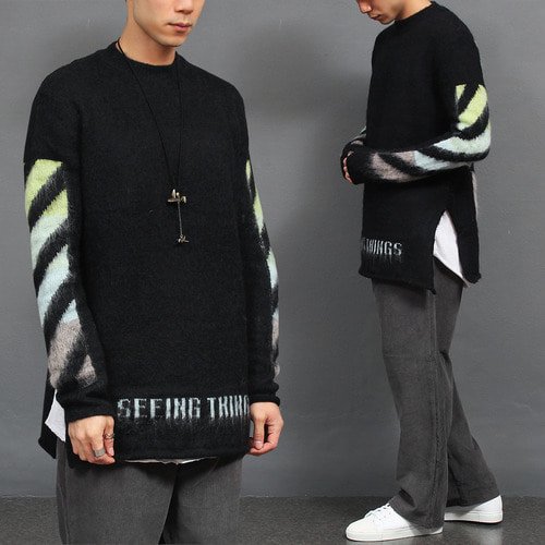Graphic Color Logo Split Side Mohair Knit Jumper