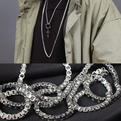 Square Shaped Link Chain Steel Necklace N84