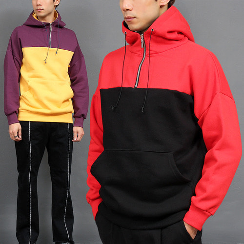 Contrast Color Turtle Neck Zip Up Anorak Hooded Fleece Sweatshirt