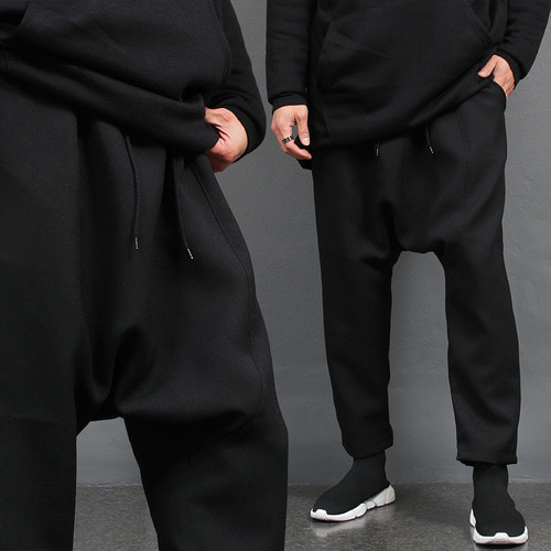 Black Drop Crotch Wide Baggy Sweatpants