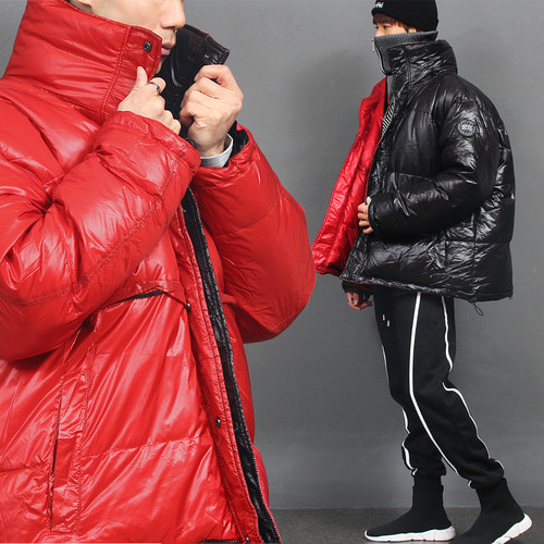 Black Red Reversible Hooded Goose Down Puffa Jacket