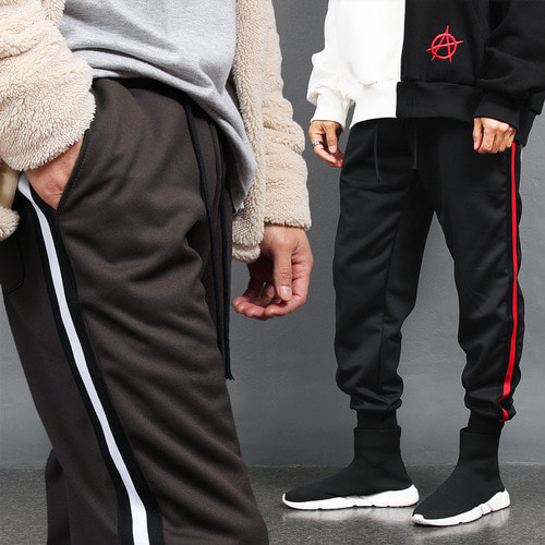 Side Tape Line Interior Fleece Jersey Jogger Pants