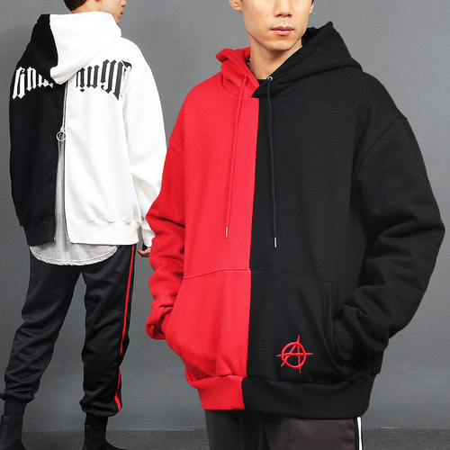 Contrast Half Color Printing Back Zip Up Hoodie