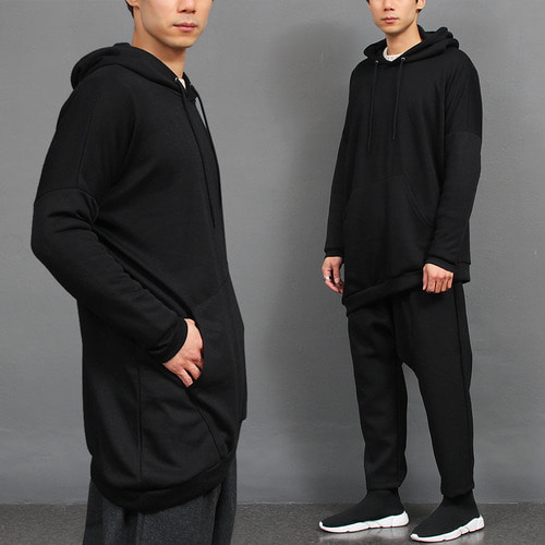 Loose Fit Unbalanced Diagonal Hem Hoodie