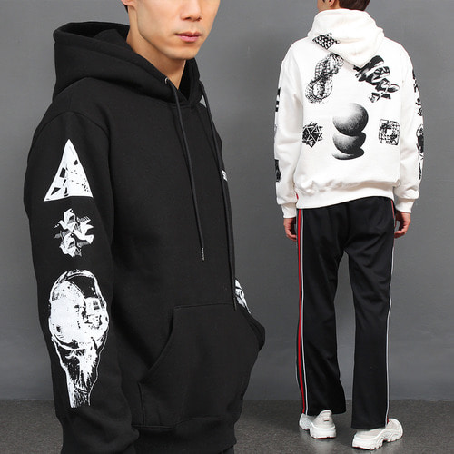 Graphic Logo Printing Boxy Interior Fleece Hoodie