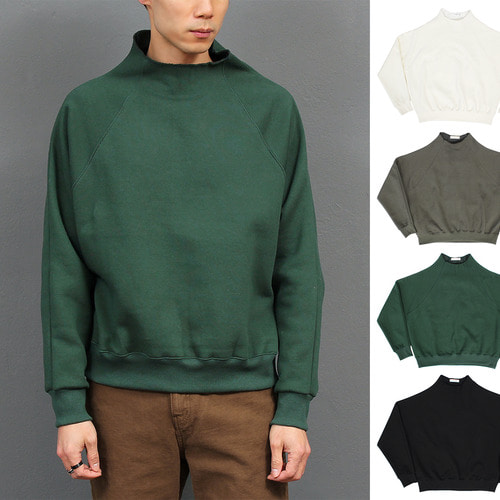 High Neck Vintage Trim Fleece Interior Sweatshirt