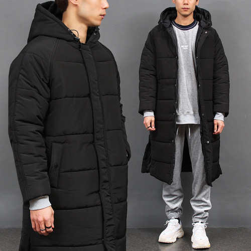 Split Side High Neck Hood Long Padded Parka